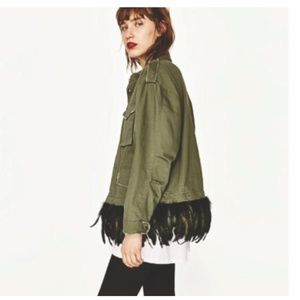 ZARA detachable Feather Army Jacket.